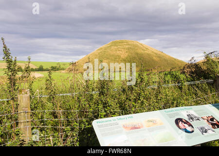 Information board at Silbury Hill, Avebury, Wiltshire. The largest man-made mound in Europe dating to c. 2400BC. - Stock Image