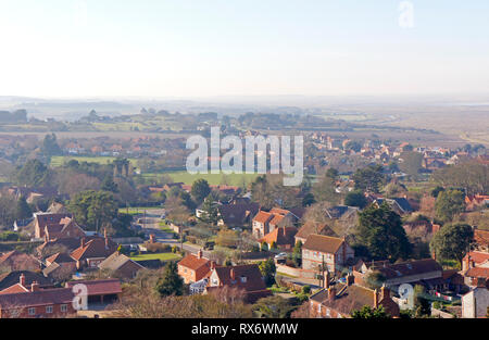 A view westwards towards Morston on the North Norfolk from Blakeney Church tower, Norfolk, England, United Kingdom, Europe. - Stock Image