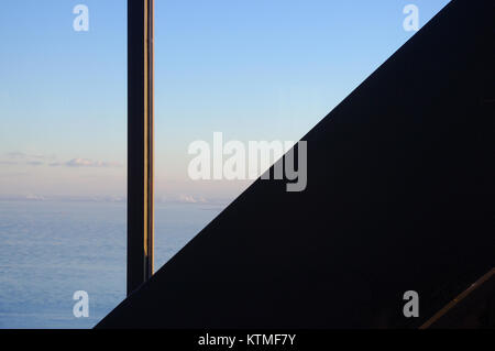 View from the John Hancock Tower in Chicago revealing a aerial view of Lake Michigan, - Stock Image