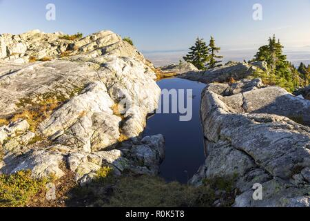 Blue Mountain Lake Scenic Landscape View on Mount Seymour, North Shore Mountains above City of Vancouver, British Columbia, Canada - Stock Image