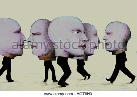 Businessmen with big heads - Stock Image