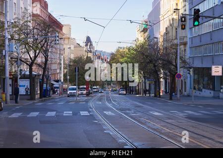 A view on Vinohradska Street, Vinohrady catastral district, Prague, Czech Republic, October 31, 2018.  (CTK Photo/Libor Sojka) - Stock Image