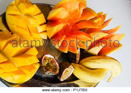 Tropical fruit platter, colourful and tasty. - Stock Image
