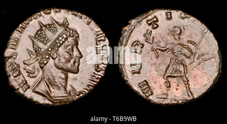 Roman Coin: Antonianus of Quintillus (c270AD) Reverse: Mars walking left, holding branch, spear, and shield - Stock Image
