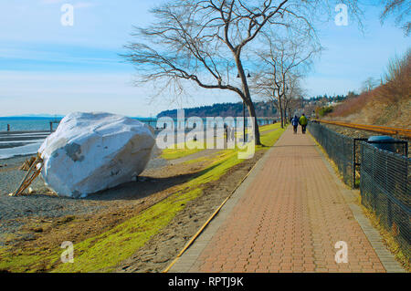 The iconic 'white rock' along the walkway in White Rock, British Columbia, Canada. - Stock Image