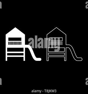 Playground slide Children's slide Kids playground Children's town with slide icon outline set white color vector illustration flat style simple image - Stock Image
