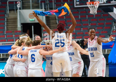 Riga, Latvia. 1st of July, 2019. Great Britain's Women's basketball team celebrates win against Montenegro, during qualification match to 1/4 final at  FIBA Women's Eurobasket 2019 in Riga , Latvia. Credit: Gints Ivuskans/Alamy Live News - Stock Image