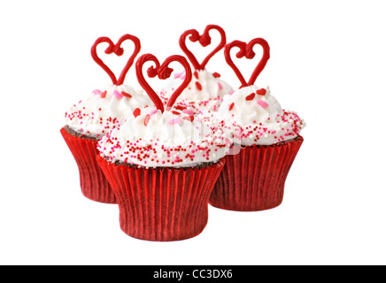 Chocolate cupcakes with vanilla icing for Valentine, Valentine's day. - Stock Image