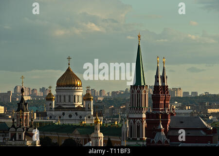 MOSCOW, AUGUST 7, 2018: Moscow city, Cathedral of Christ the Savior, Nikolsky (St. Nicholas) tower of the Kremlin, spires of the Museum of Russian His - Stock Image