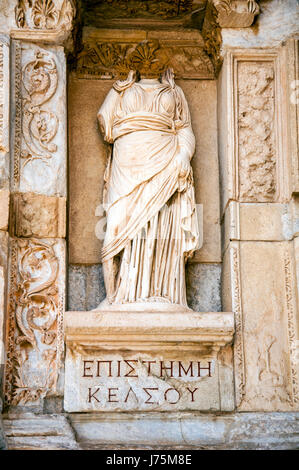 Statue  in front of Library of Celsus, Ephesus, Turkey - Stock Image
