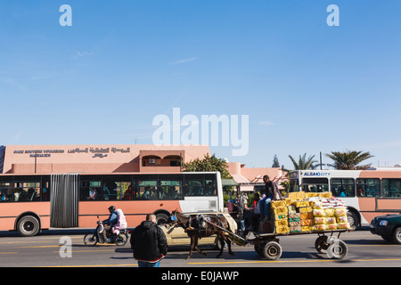 Street scene with traffic passing the busy bus station and man trying to cross the road in Marrakech Morocco North Africa - Stock Image