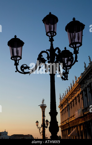 Lampost at dawn in St Marks Square Venice Italy - Stock Image