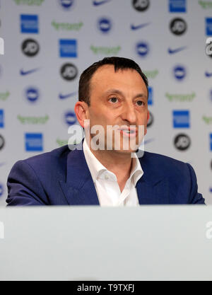 Brighton and Hove Albion Chairman Tony Bloom during a press conference at The American Express Elite Football Performance Centre, Brighton. - Stock Image