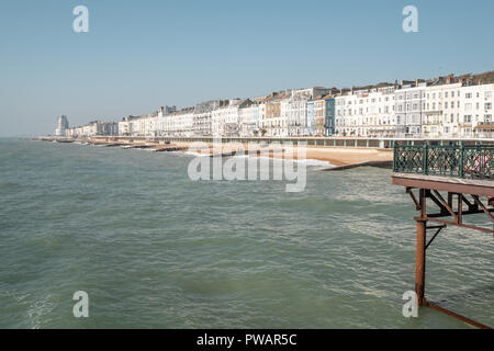 View of Hastings Seafront, from the Pier, East Sussex, UK - Stock Image