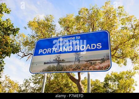 Welcome to Portland Roads sign, Cape York Peninsula, Far North Queensland, FNQ, QLD, Australia - Stock Image