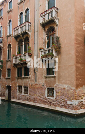 A Balcony in Venice overlooking the canal - Stock Image