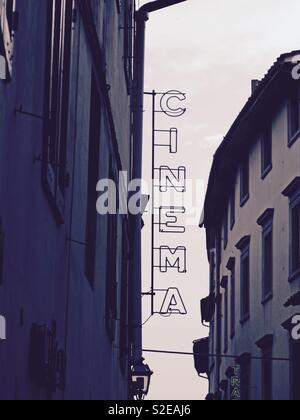 Cinema sign, Italy - Stock Image