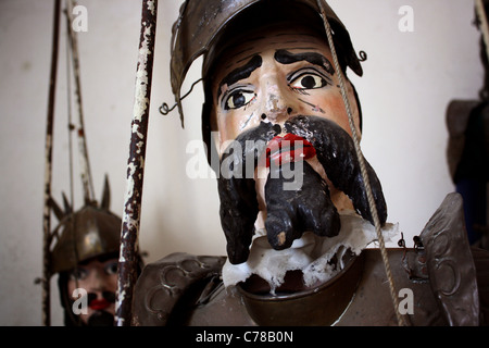 Close of of a large male Sicilian marionette / puppet with beard. - Stock Image