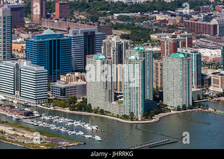 Towers along Hudson River in Jersey City - Stock Image