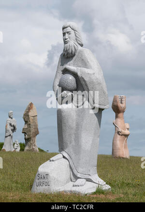 Granite sculpture in the Valley of the Saints, Quenequillec, Brittany, France. - Stock Image