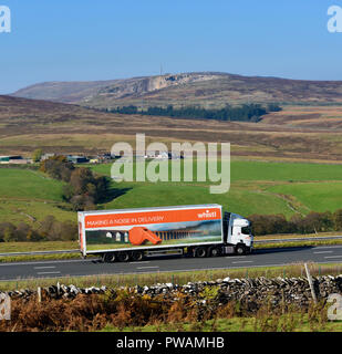 Whistl, Making a noise in delivery HGV. M6 Northbound carriageway, Shap, Cumbria, England, United Kingdom, Europe. - Stock Image