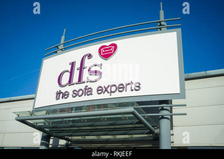 DFS storefront at Forbury Retail Park, Reading, Berkshire. - Stock Image