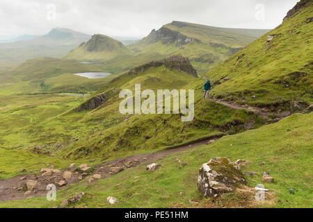 Walkers on The Quiraing, Trotternish Ridge, Isle of Skye, Scotland - Stock Image