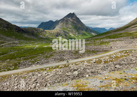 Male cyclist on private toll road through Vengedalen, close to Andalsnes, Norway. - Stock Image