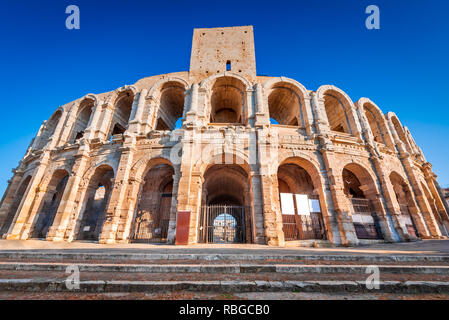 Arles, France. Ancient roman Amphiteatre (Arena) in the old Provence city. - Stock Image