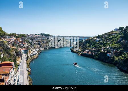 View from the Luis 1 bridge, Porto. - Stock Image