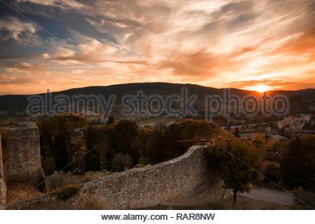 San Gimignano at Dusk, Tuscany - Stock Image