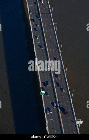 Aerial view of traffic on the Captain Cook Bridge, South East Freeway, Brisbane Queensland Australia - Stock Image