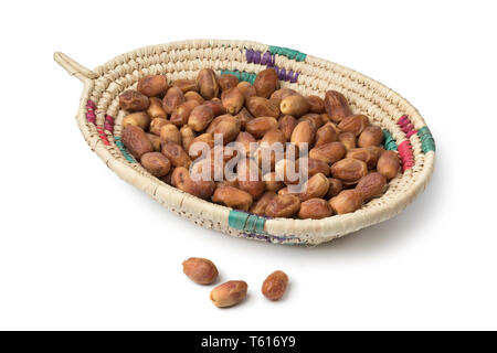 Basket with dried Iranian Zahedi dates isolated on white background - Stock Image