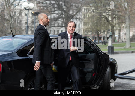 Stockholm, Sweden, 23th April, 2018. UN Secretary-General and Security Council to meet in Sweden. UN Secretary-General António Guterres visiting the National Library of Sweden.Prime Minister Stefan Löfven arrives.  Credit: Barbro Bergfeldt/Alamy Live News - Stock Image