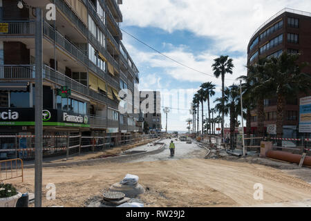 Marina Baixa Avenida, La Cala de Finestrat, Benidorm, Spain, 04 March 2019. Construction of a large double culvert below ground to take flood waters from the route of the old riverbed is nearly complete. The ravine had previously been paved over and the resulting floodwater ran down the road above ground resulting in 3 deaths in recent years. In 2017 a man was filmed being swept to his death here. Credit: Mick Flynn/Alamy Live News - Stock Image