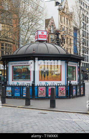 The London Pass theatre and tourist attraction ticket kiosk in Charing Cross Road, Covent Garden, London, England, UK - Stock Image