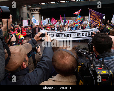 26 March 2011 National TUC Demonstration against the cuts. London - Stock Image