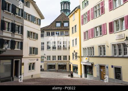 Zurich, Switzerland - March 2017: Glocken-Gasse a medieval alley street in Zurich city centre, Switzerland - Stock Image