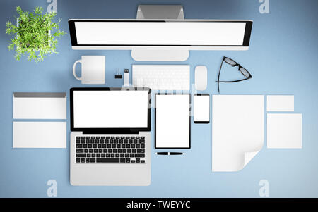 top view of devices and branding elements mockup 3d rendering - Stock Image