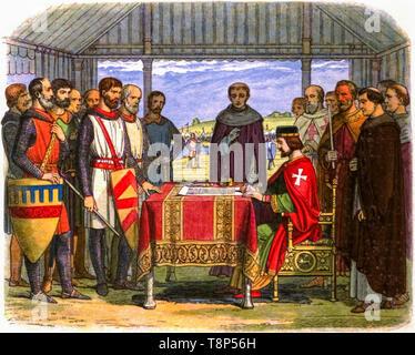 King John signing the Magna Carta, illustration by Edmund Evans, 1864 - Stock Image