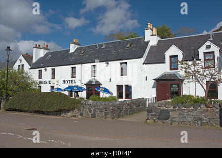 The colourful and historic location of Dornie village on the shores of Loch Duich in West Rosshire in the Scottish - Stock Image