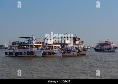 Anchored boats, Mumbai, India - Stock Image