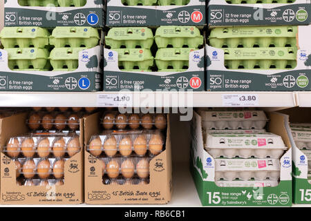 Eggs on sale at a Sainsburys supermarket - Stock Image