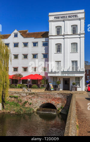 River Stour, Mill Hotel, Sudbury Town Centre, Suffolk, England, UK, GB - Stock Image