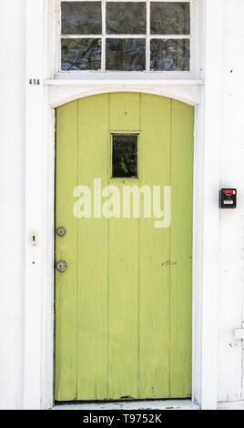 old green door on main street Sag Harbor - Stock Image