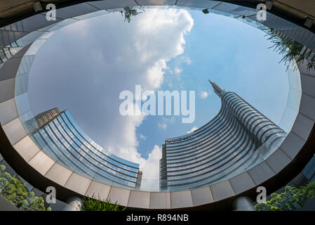 Horizontal Vertical Square view of the UniCredit Tower in Milan, Italy. - Stock Image