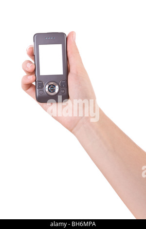 Hand holding mobile phone isolated on white - Stock Image
