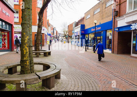 Bailey street looking towards Bailey Head with shops and retail premises in the centre of Oswestry North Shropshire England - Stock Image