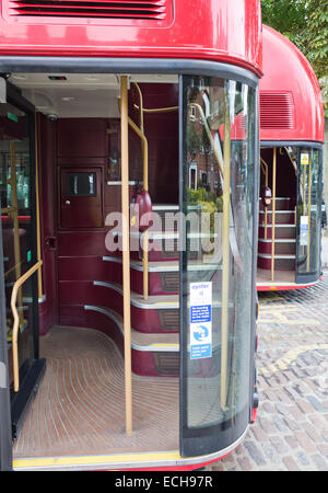 The entrance door to the new London Routemaster bus in London UK - Stock Image