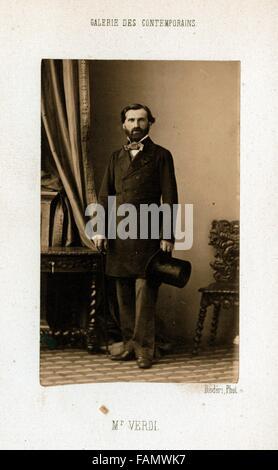 Giuseppe Verdi, by André Adolphe Eugène Disdéri - 1862 - Stock Image